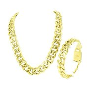Miami Cuban Stainless Steel Chain For Men With 14k Yellow Gold Finish Men And