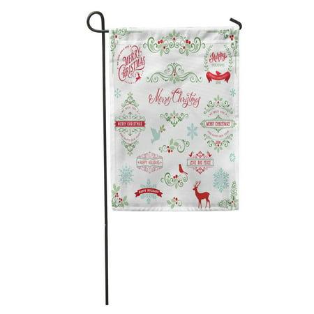 KDAGR Red Ornate Christmas Frames and Swirl Merry Snowflakes Dove Garden Flag Decorative Flag House Banner 28x40