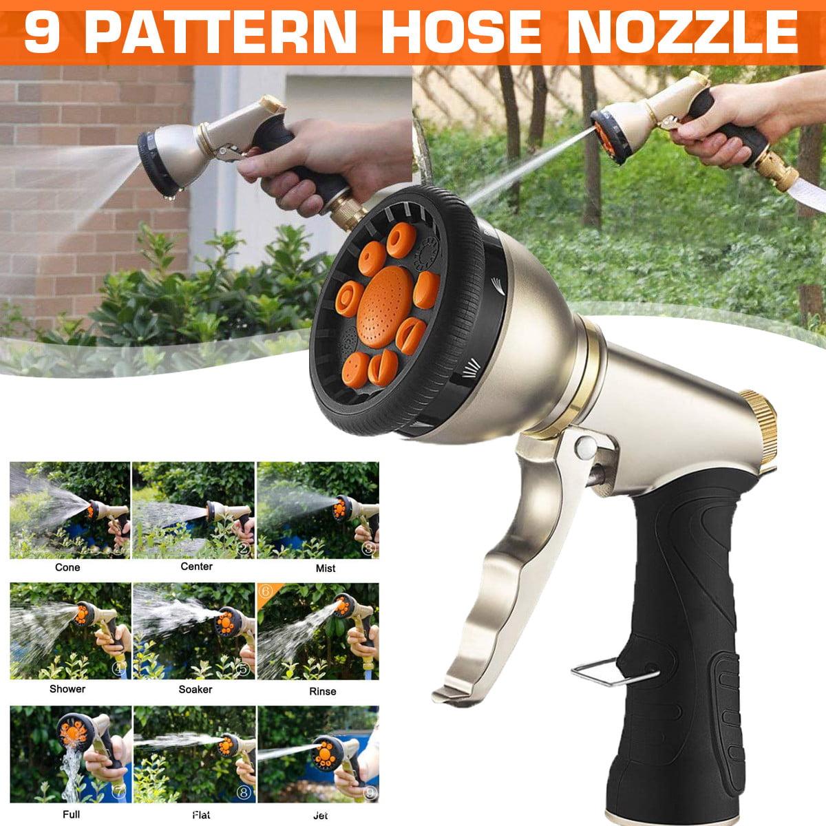 niahode Garden Hose Nozzle Short,Silver Heavy Duty Metal Spray Gun 360/° Rotating Water Adjustment High Pressure Leak Proof Pistol Grip Sprayer for Car Washing,Plants Watering,Pets Shower Cleaning