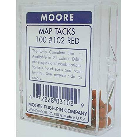 Moore - Map Tacks - Orange, 100/Box