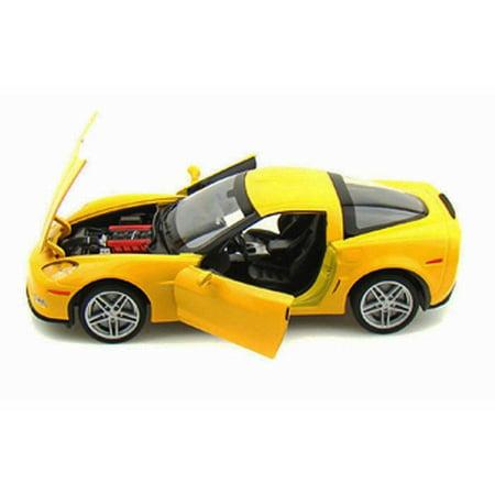 Corvette Z06 Wheels - 2007 Chevy Corvette Z06 Hard Top, Yellow - Welly 22504WYL - 1/24 scale Diecast Model Toy Car