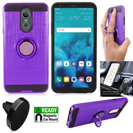 Phone Case For LG Stylo 4 / Straight Talk LG Stylo 4 / Boost Mobile LG Stylo 4 Case / Stylo 4 Plus Case + Magnetic Mount with Rugged Cover Ring-Stand ( Ring-Stand Purple-Black TPU/Magnetic Mount) ()