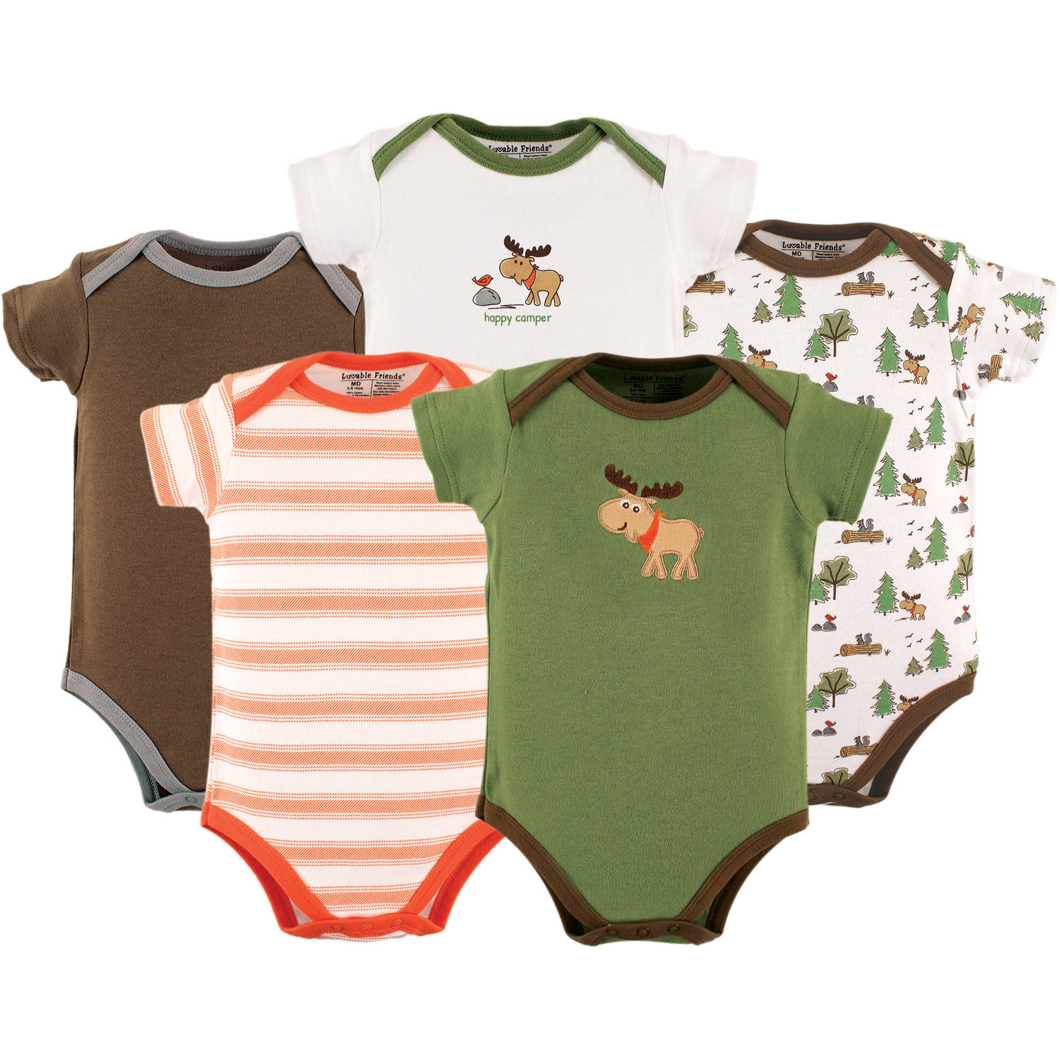 Luvable Friends Newborn Baby Boys Bodysuit 5-Pack, Moose