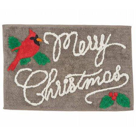 St Nicholas Square Gray Merry Christmas Cardinal Throw Rug Red 20x30 Bath Mat