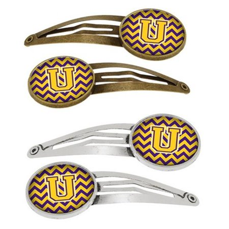 Letter U Chevron Purple & Gold Barrettes Hair Clips, 0.75 x 0.25 x 2.25 in. - Set of 4