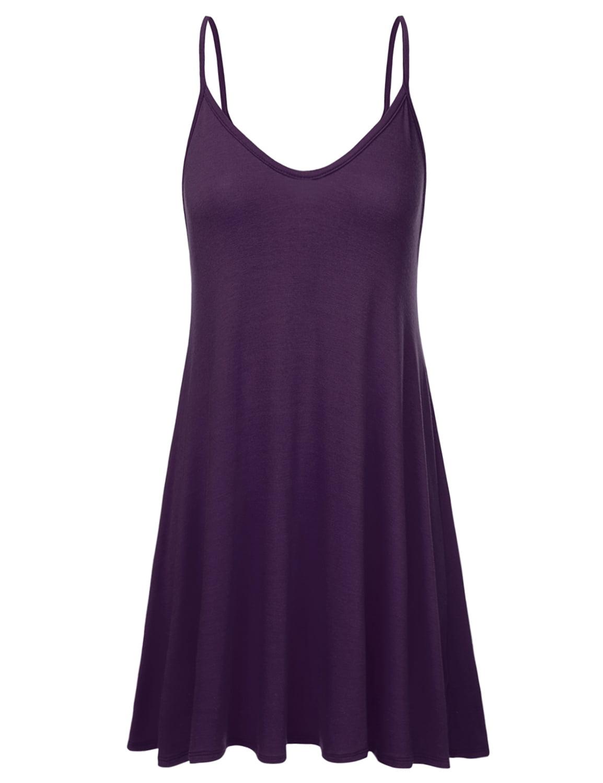 cc8fd9084aee Doublju Women s Casual Spaghetti Loose Swing Slip Dress PURPLE 3XL Plus Size