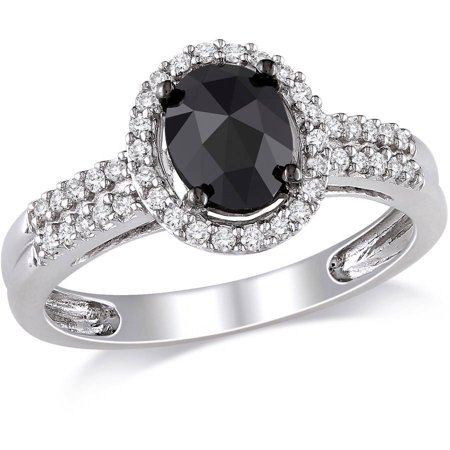 1 Carat T.W. Oval and Round-Cut Black and White Diamond 14kt White Gold Halo Engagement