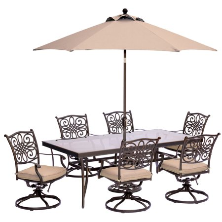 "Image of ""Outdoor Traditions 7-Piece Dining Set with with 42"""" x 84"""" Glass-Top Table, 6 Swivel Rockers and Umbrella w/Stand"""
