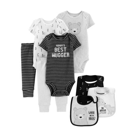 Child of Mine by Carter's Baby Boy Clothes Bodysuits, Pants, & Bibs Shower Gift Set, 8-Piece