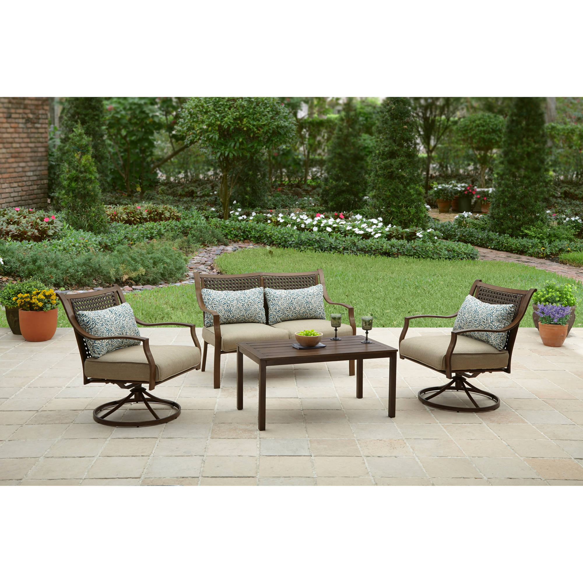Better Homes And Gardens Lynnhaven Park 4 Piece Outdoor Conversation Set    Walmart.com