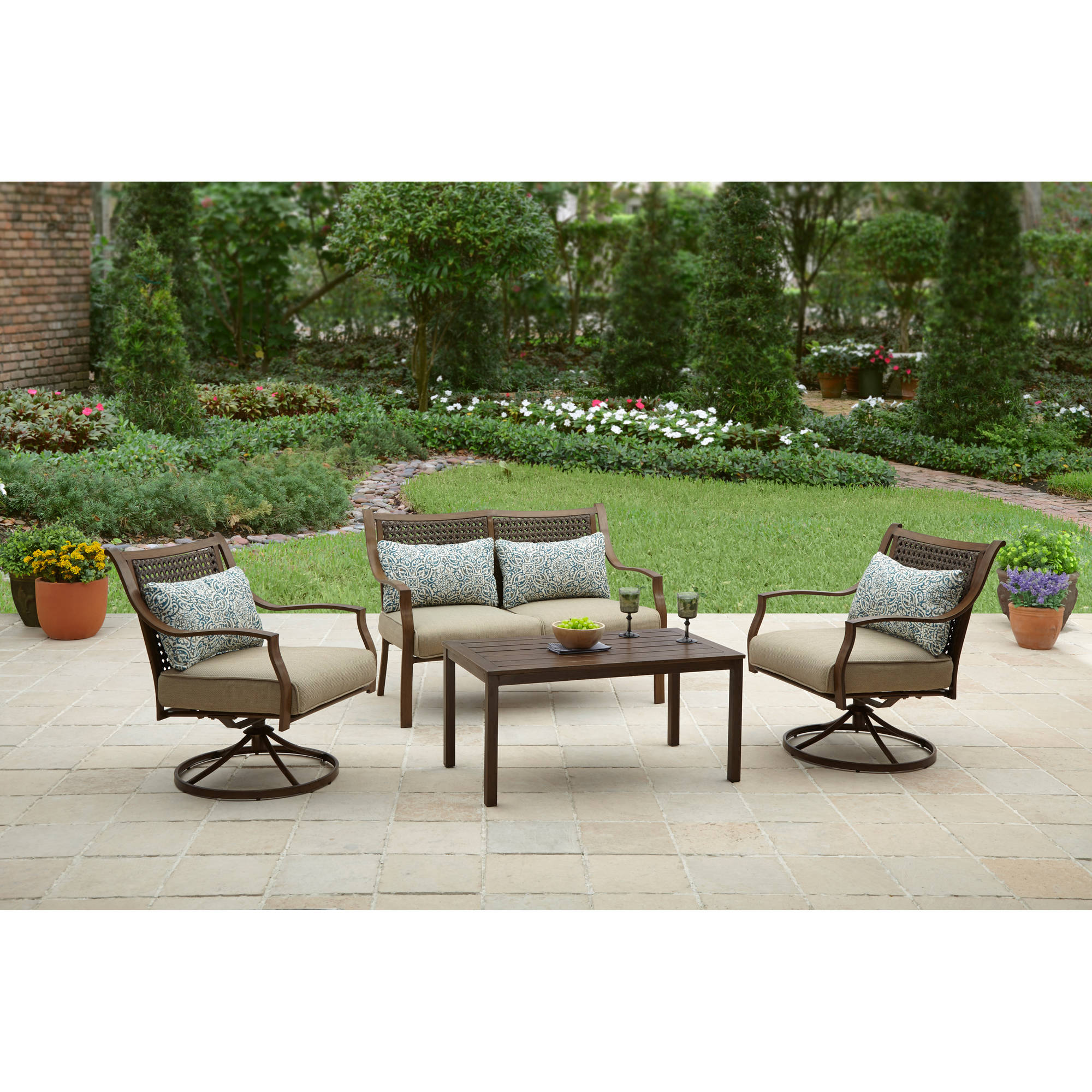 Better Homes and Gardens Lynnhaven Park 4 Piece Outdoor Conversation Set    Walmart com. Better Homes and Gardens Lynnhaven Park 4 Piece Outdoor