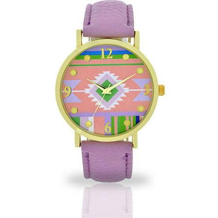 Women's Lavender Aztec Watch, Faux Leather (Lavender Watch)
