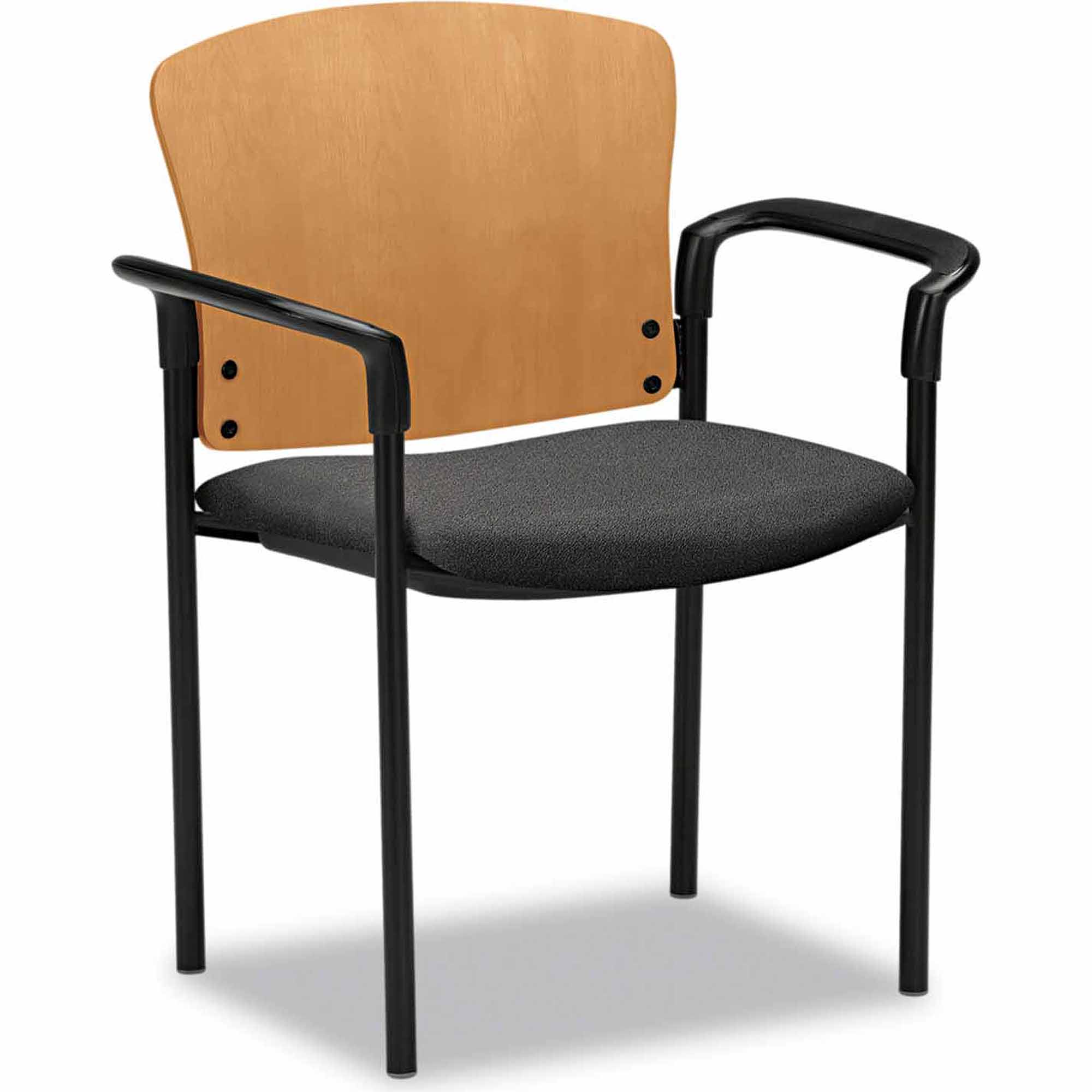 Hon Pagoda 4091 Series Guest Chair, Harvest Wood Back/Gray Fabric Seat, Set of 2