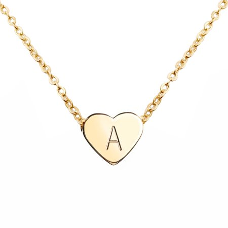 Gold Heart Necklace Initial Necklace Mother's Day Gift Bridesmaid Gift Graduation Gift for Her