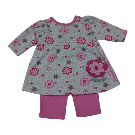 Bon Bebe Baby Girls Pink Floral Print Embroidery Stretchy Pants Outfit
