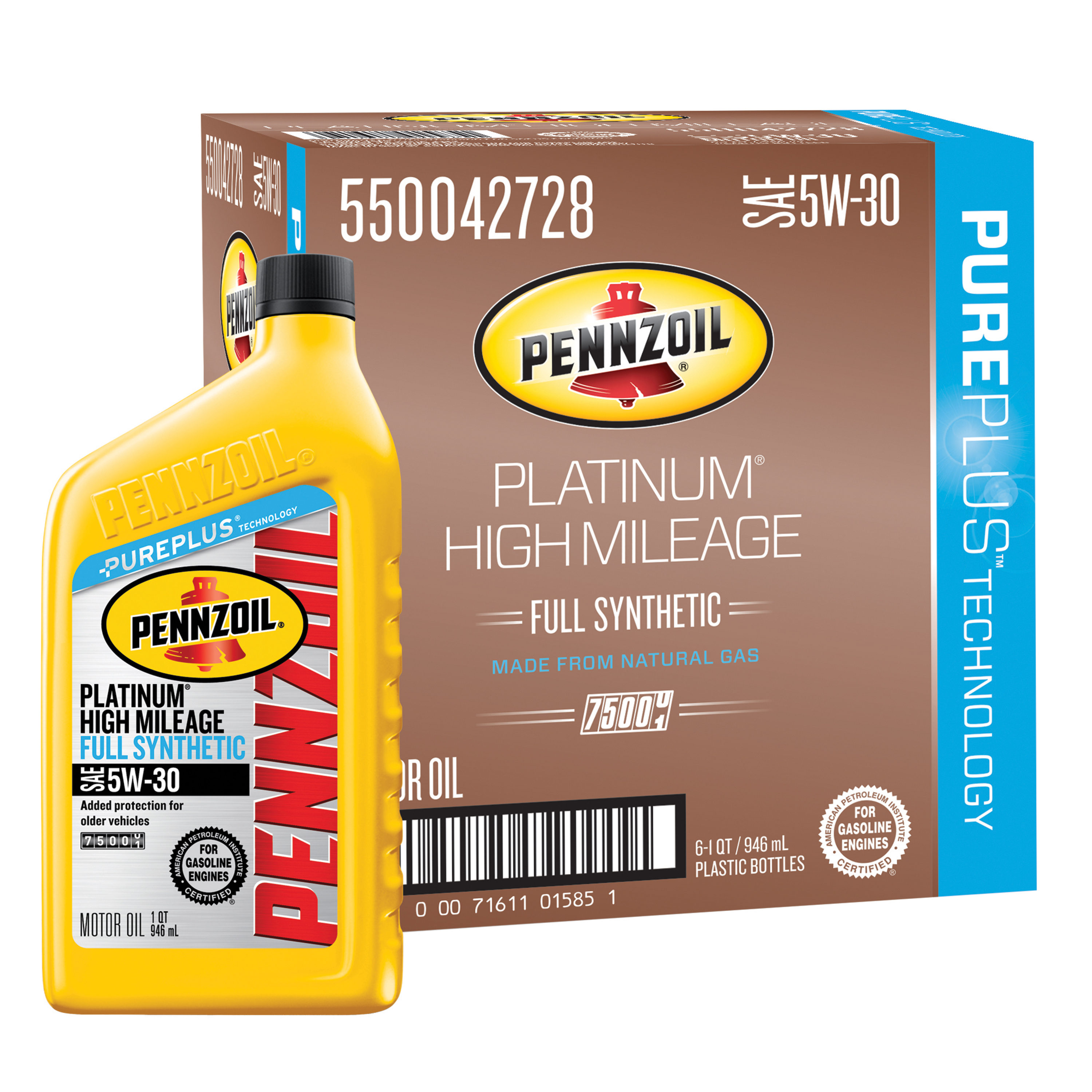 Pennzoil 5w 30 synthetic high mileage 5 quart plus bonus for What is synthetic motor oil made out of