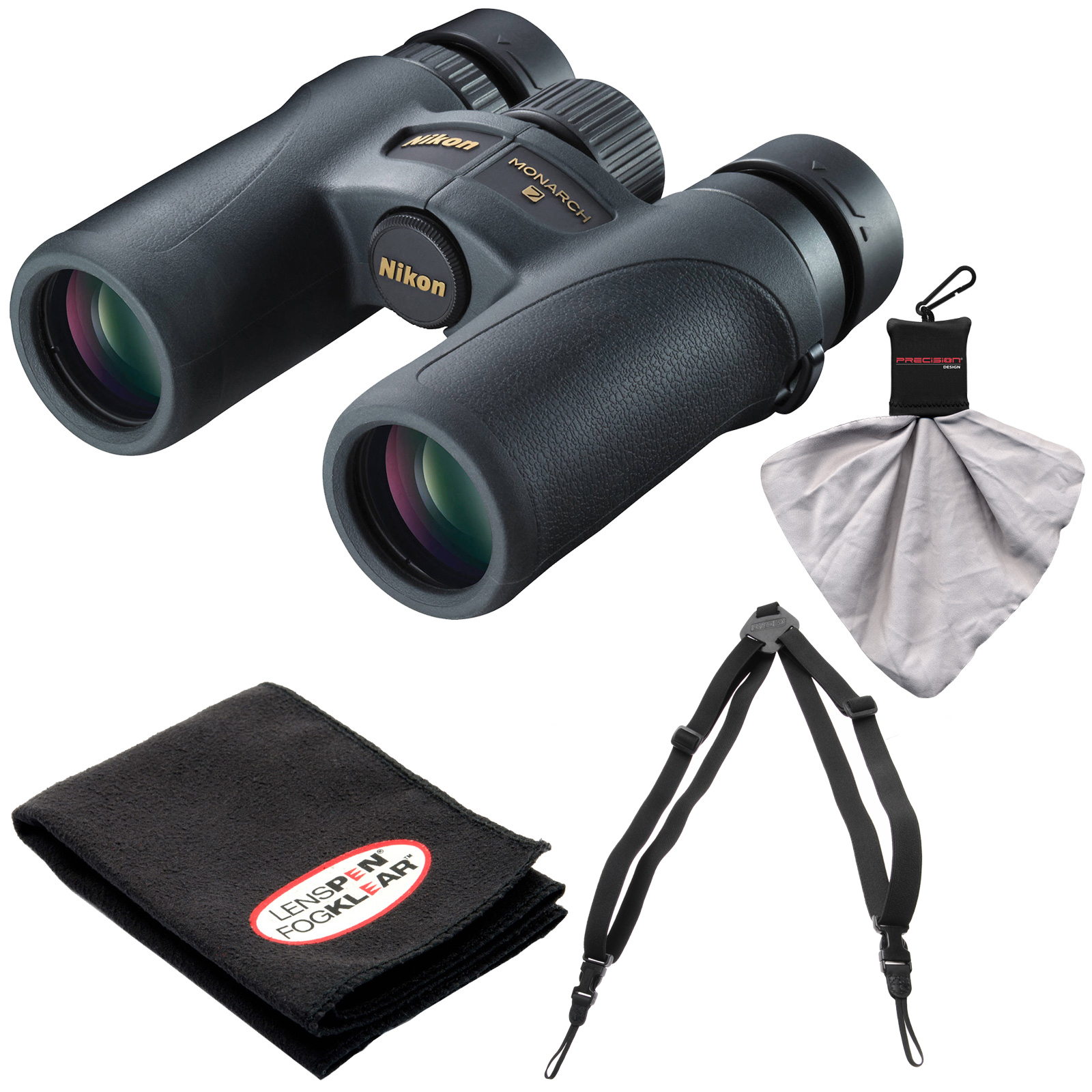Nikon Monarch 7 10x30 ED ATB Waterproof/Fogproof Binoculars with Case   Easy Carry Harness   Cleaning Cloth Kit