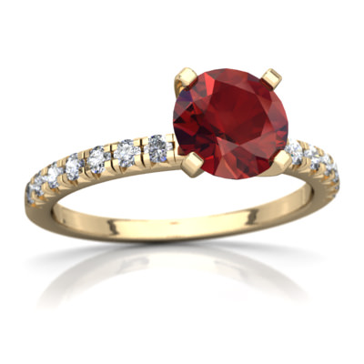 Garnet Petite Pavé Ring in 14K Yellow Gold by