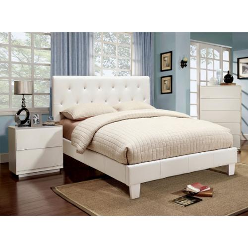 Furniture of America Mircella 2-piece White Leatherette Platform Bedroom Set Twin - White
