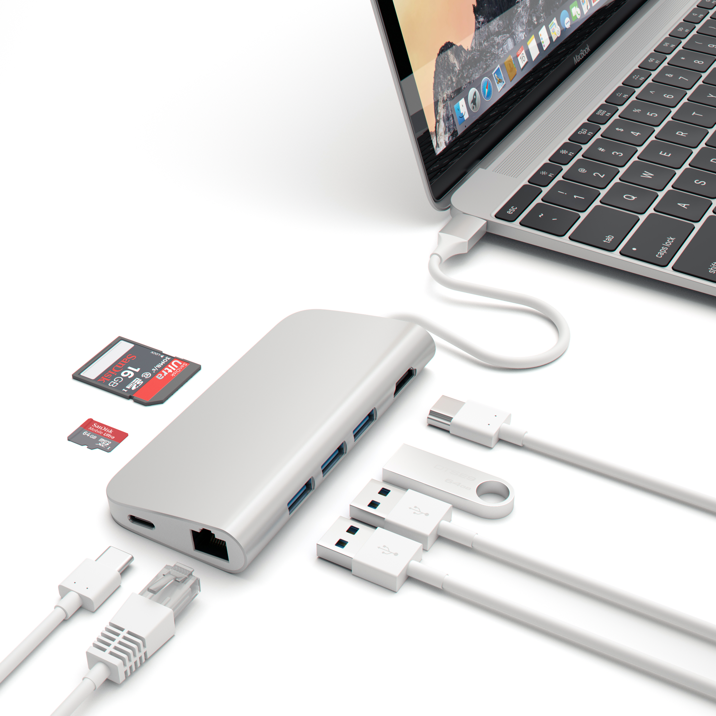 Satechi Aluminum Multi-Port Adapter 4K HDMI (30Hz), Type-C Pass Through, Gigabit Ethernet, SD/Micro Card Reader, and 3 USB 3.0 Ports for 2016/2017 MacBook Pro, 2015/2016/2017 MacBook and more (Silver)