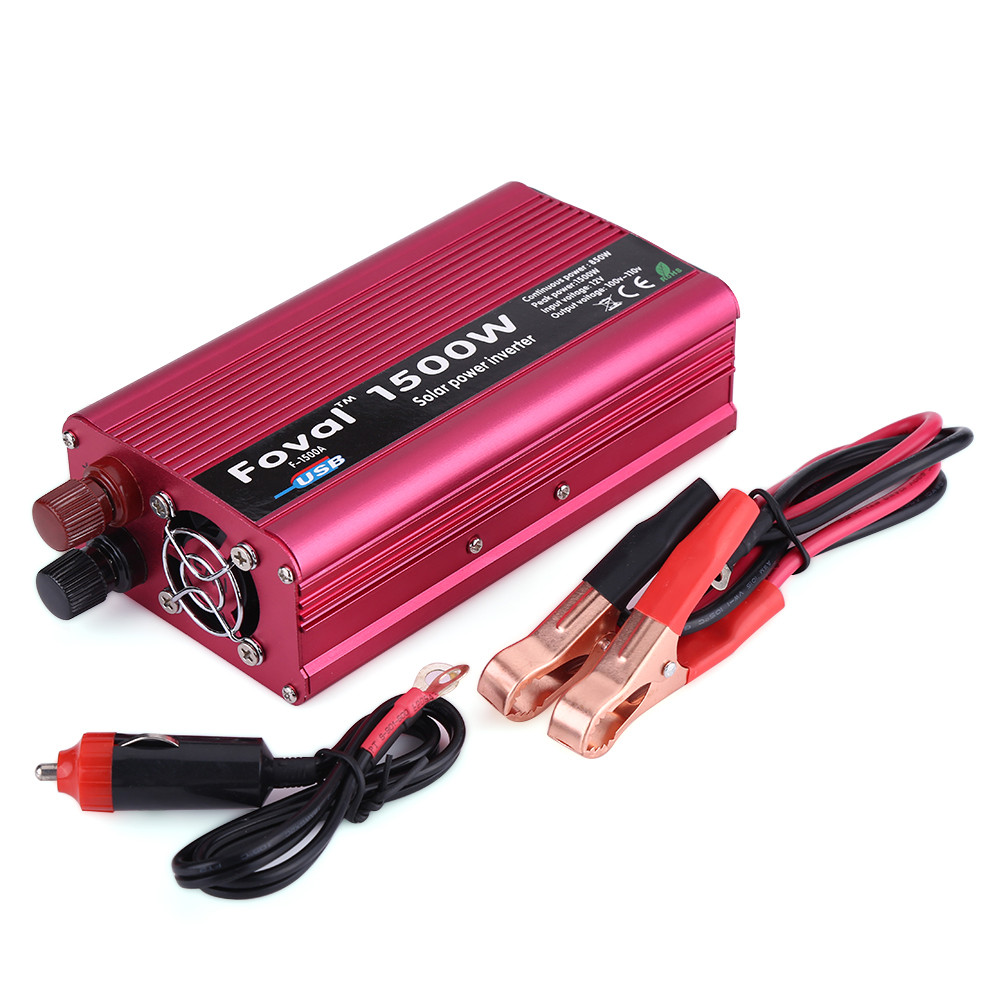 1500W DC 12V to AC 110V Power Inverter Converter W/ Dual Outlets for Home Car Outdoor Use