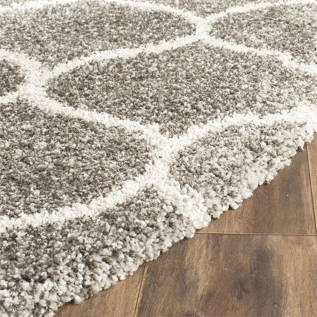 Safavieh Hudson Shag 5' Round Power Loomed Rug in Gray and Ivory - image 1 de 2