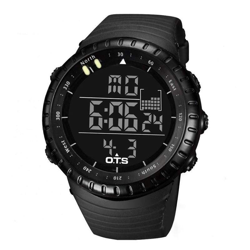 Men Digital Sports Wrist Watch Analog Water Resistant Stainless Steel