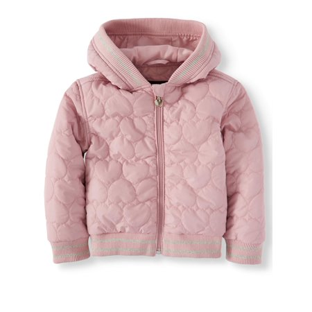 (BHIP Quilted Heart Hooded Puffer Jacket (Little Girls))