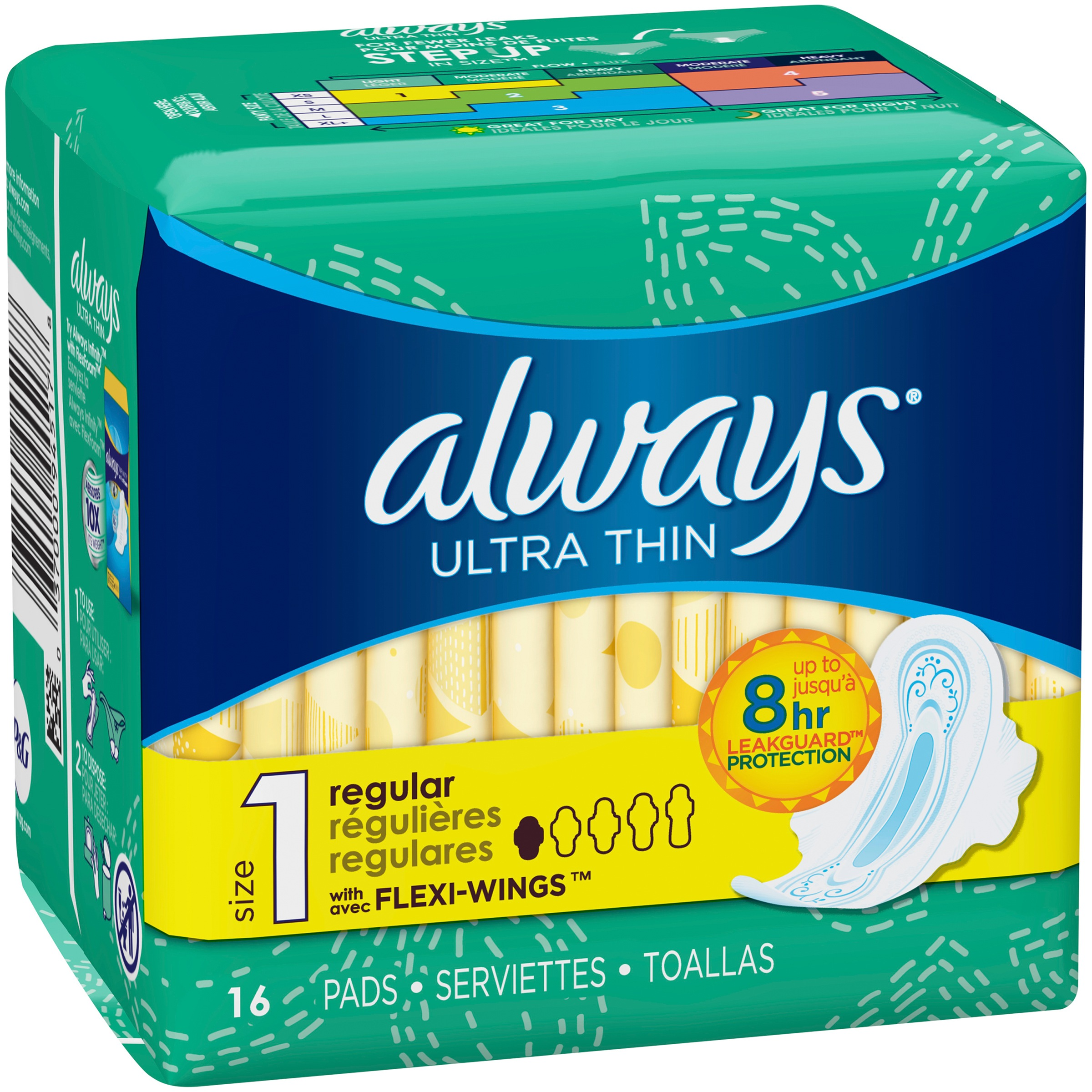Always Ultra Thin Pads with Wings, Regular, Unscented, 16 Ct, Size on