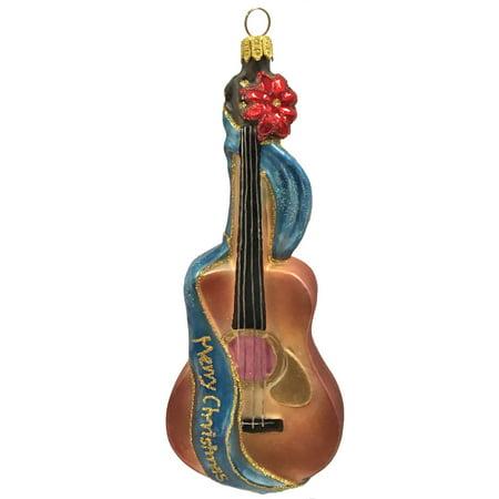 Guitar Christmas Tree Ornament - Merry Christmas Guitar Musical Instrument Polish Glass Christmas Tree Ornament