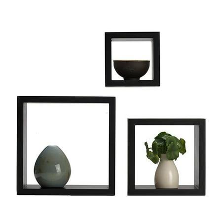 Harbortown3pc Wall Cube Display Shelf Set Square Decorative Floating Shelves ()