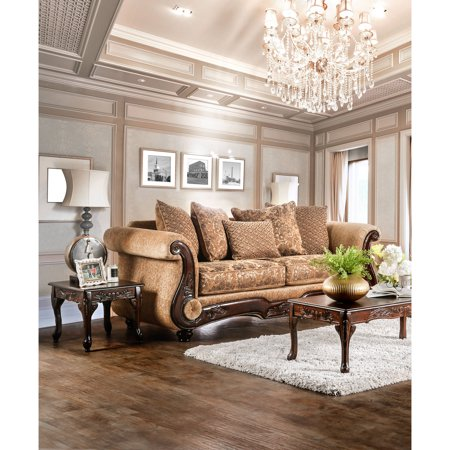 Furniture of America Dennison Traditional Sofa, Gold & Bronze