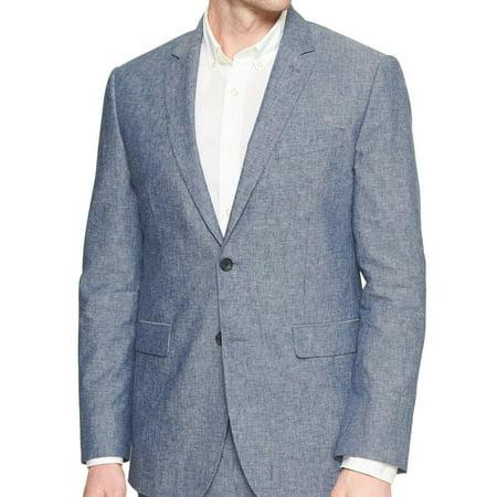 New  Banana Republic Mens Blue Standard Fit Linen Blend Blazer Jacket 40S 0972-1
