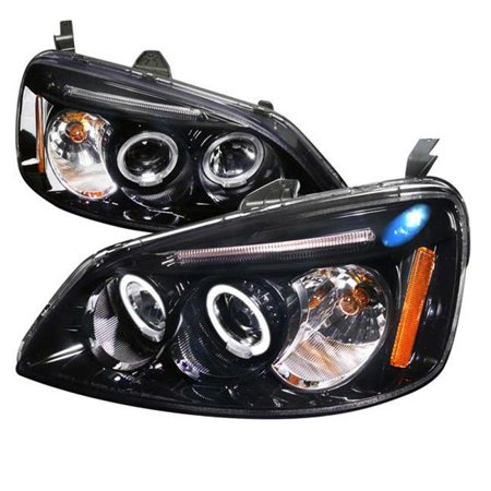 Spec-D Tuning 2001-2003 Honda Civic Led Halo Projector Headlights 2001 2002 2003 (Left + Right) Civic Projector Headlights Black Housing