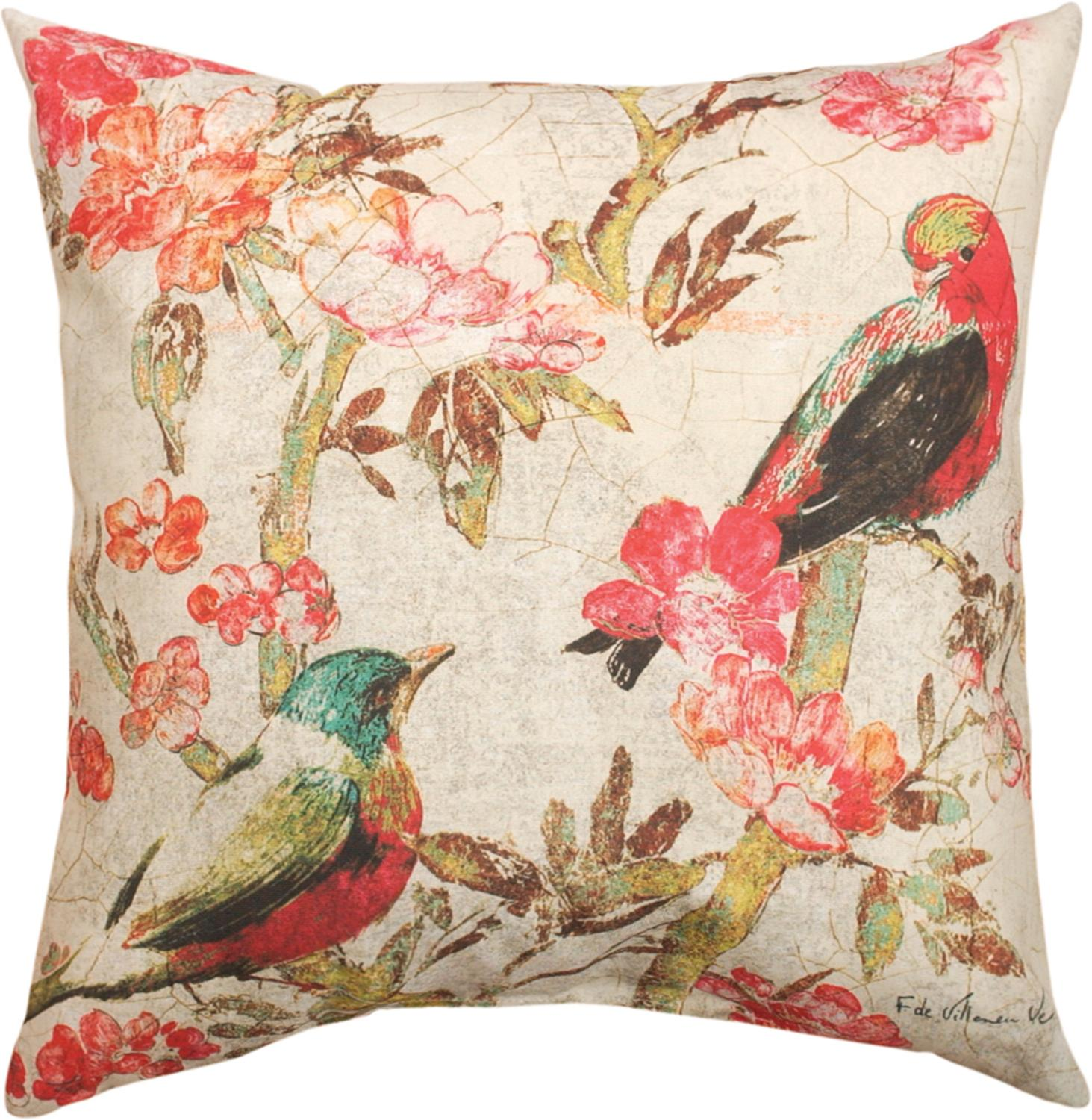 "18"" Birds of Linen Decorative Outdoor Patio Throw Pillow"