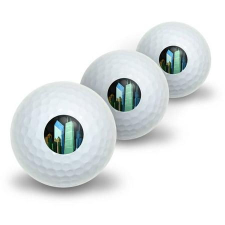Chicago Hancock Building Willis Tower Crain Communication Novelty Golf Balls, 3pk