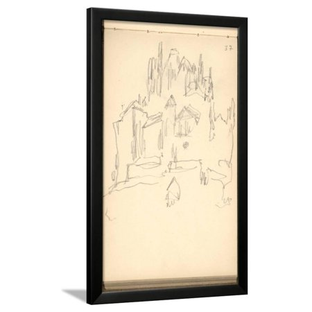 - Mont Saint-Michel (Pencil on Paper) Framed Print Wall Art By Claude Monet