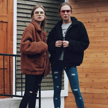 Women's Winter Warm Faux Fur Coat, Shearling Shaggy Coat Jacket, Autumn Winter Long Sleeve Lapel Fluffy Fur -