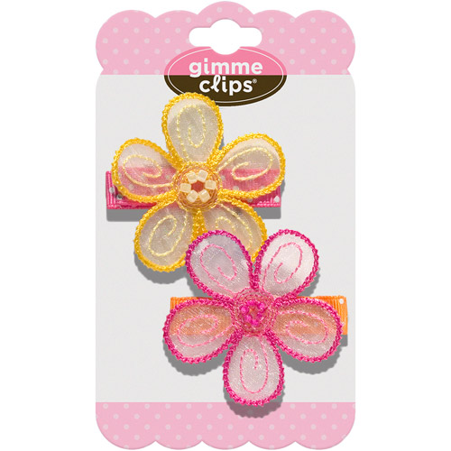 Gimme Clips Sunshine Day Hair Clips, Yellow and Pink, 2 count