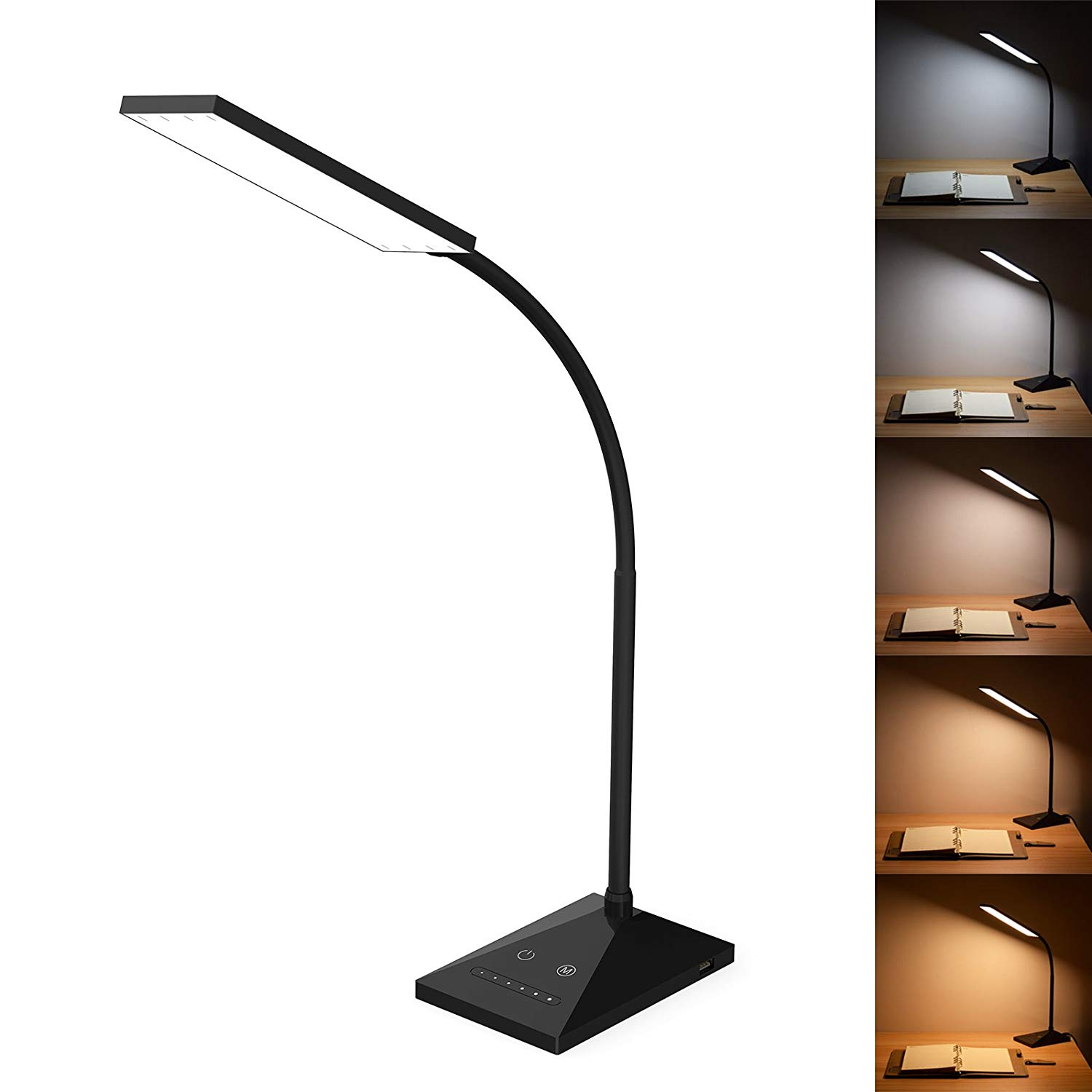 Kootion 12w Led Desk Lamp With Usb Charging Port 5 Modes 7 Brightness Touch Control Memory Function 72 Leds Eye Caring Office Table