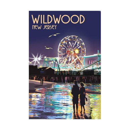 Ride Print Jersey - Wildwood, New Jersey - Pier and Rides at Night Print By Lantern Press