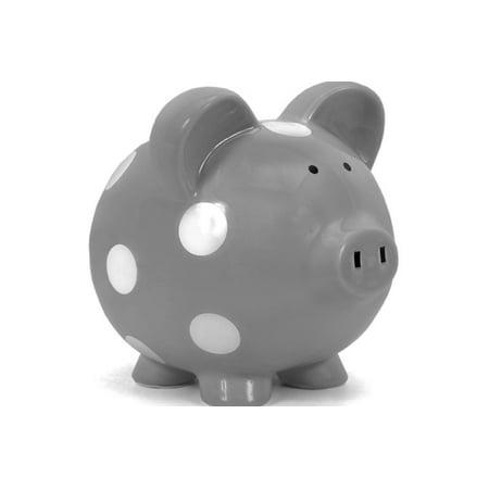 Child To Cherish Large Piggy Bank Grey And White Polka Dot