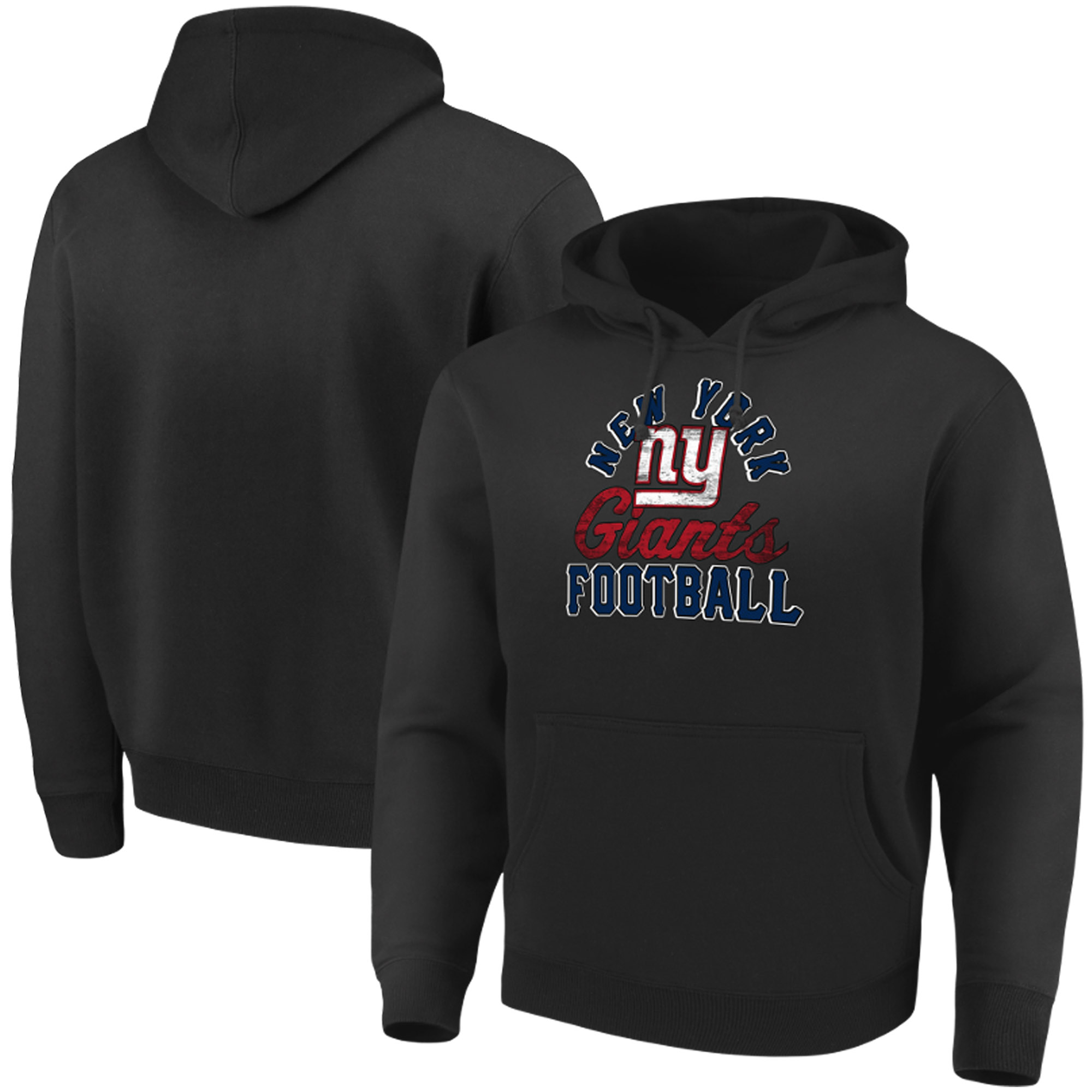 New York Giants Majestic Showtime Kicker Pullover Hoodie - Black