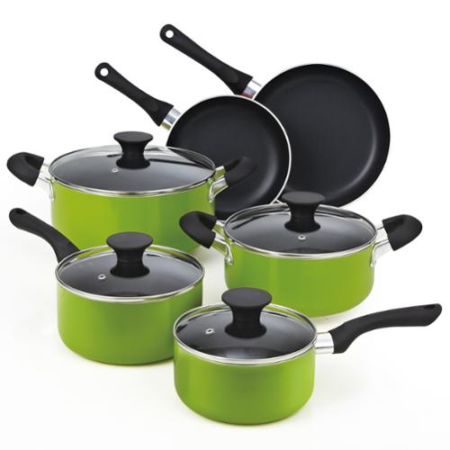 Cook N Home 10-piece Green Non-stick Coating Cookware Set