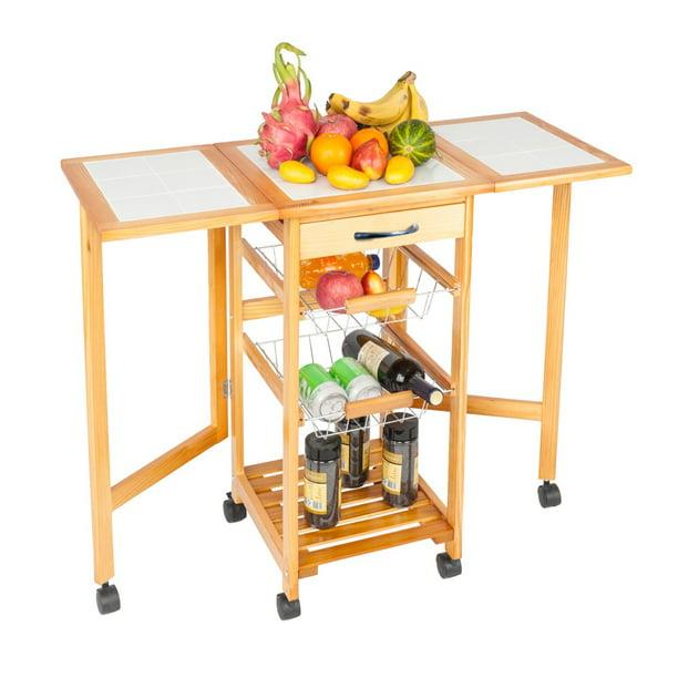 Kitchen Storage Cart, 4 Tier Cart Rack Utility Microwave ...