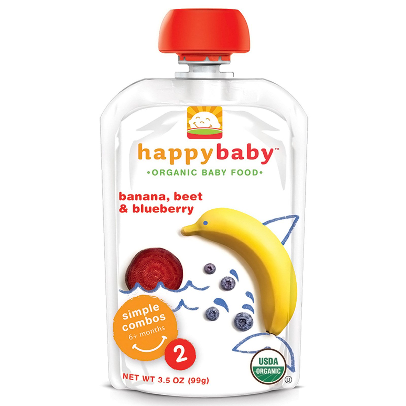 Nurture Inc. (Happy Baby), Organic Baby Food, Banana, Beets & Blueberry, Stage 2, 6+ Months, 3.5 oz(pack of 2)