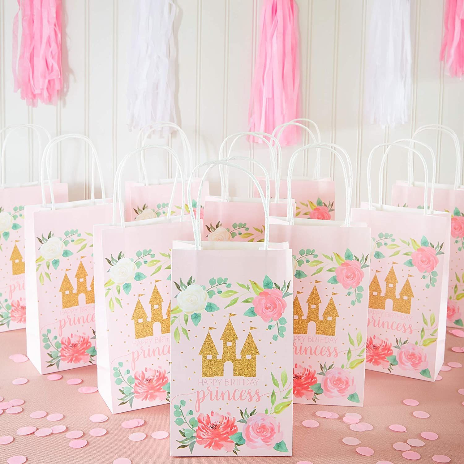 Pink Princess Castle/Candy Goodie Favor Bags with Handle for Princess Theme Birthday Baby Shower Party Favors Supplies 12 Pieces Princess Party Gift Treat Bag