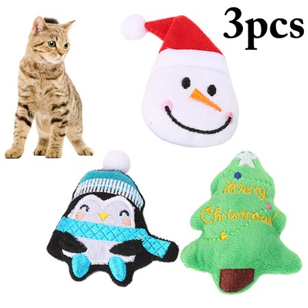 3PCS Cat Toy Set Interactive Assorted Plush Kitten Toy Catnip Toy for Christmas (Cat Christmas Toys)