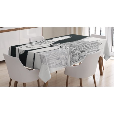 Afro Decor Tablecloth, American Jazz Music Girl Performing in front of New York Manhattan Illustration, Rectangular Table Cover for Dining Room Kitchen, 60 X 84 Inches, Cream Black, by