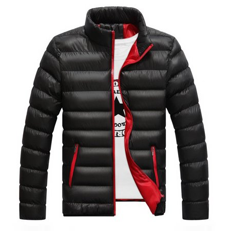Men Lightweight Jacket - Winter Men's Warm Lightweight Padded Stand Collar Trend Zipper Pocket Down Jacket Coat Outwear